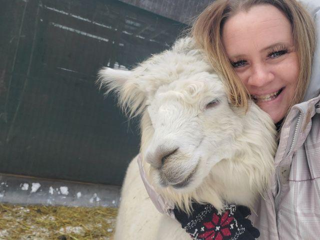 cuddles with an alpaca